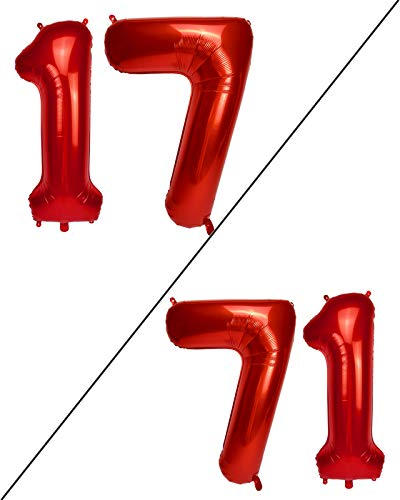 AULE 40 Inch Large 17 Number Balloons Red, Big Foil Number Balloons, Giant Helium Happy 17th Birthday Party Decorations for Girl, Huge Mylar 71 Anniversary Party Supplies