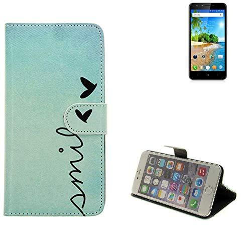 K-S-Trade® Schutzhülle Für Doogee Y6C Hülle Wallet Case Flip Cover Tasche Bookstyle Etui Handyhülle ''Smile'' Türkis Standfunktion Kameraschutz (1Stk)