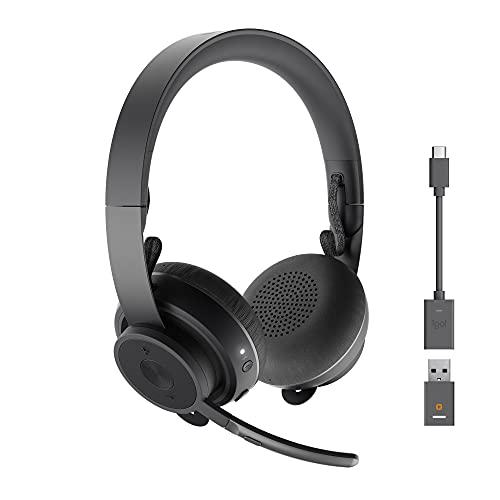 Logitech Zone 900 Auriculares inalámbricos Bluetooth, Microfono con Cancelación de Ruido, hasta 6 dispositivos inalámbricos con un solo receptor, acceso rápido a ANC y Bluetooth - Gris