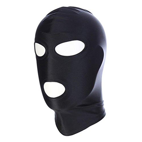 Tinksky Élastique Noir Respirant Ouvert Yeux Ouvert Bouche Visage Bandeau Masque Bandeau Cosplay Costume Capuche Unisexe Headgear - Taille M
