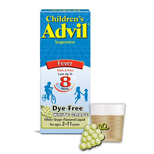 Children's Advil Pain Reliever and Fever Reducer, Dye Free Children's Ibuprofen for Pain Relief, Liquid Ibuprofen for Children, White Grape - 4 Fl Oz