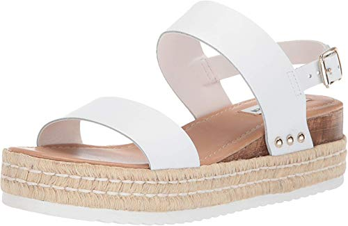 Price comparison product image Steve Madden Women's Catia Wedge Sandal,  White Leather,  8