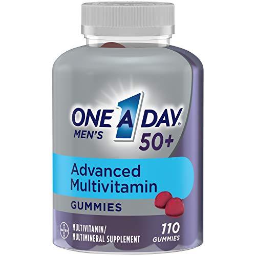 One A Day Men's 50+ Gummies Advanced Multivitamin with Brain Support, Super 8 B vitamin complex, 110 Count