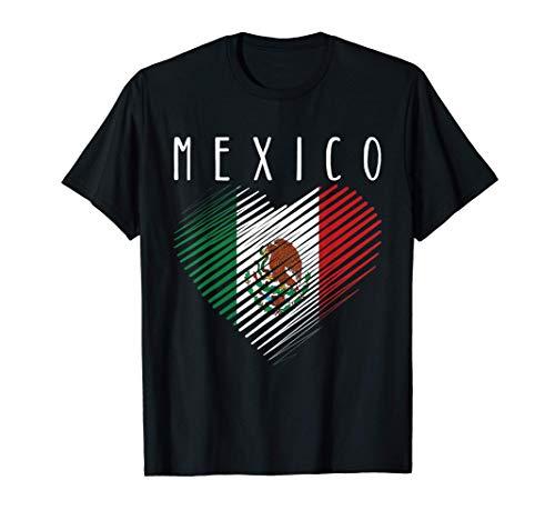 Playera de Mexico Bandera Mexicana con Corazón Te Amo Mexico Camiseta