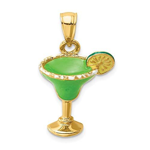 Charm-Anhänger 14 Karat Gelbgold 2-D grün emailliert Salz Margarita Getränk Limette