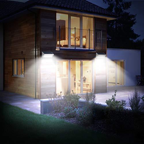 Zolimx Luz Solar Exterior,【2019 Versión de Ahorro Energía 】 Luces Solares con Sensor de Movimiento Lámpara Solar Impermeable Iluminación Exterior led Foco Solar para Exterior Jardin Garaje