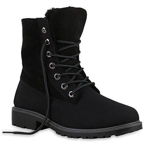 Warm Gefütterte Stiefeletten Damen Worker Boots Outdoor Schnürer Camouflage Stiefel Winter Übergrößen Schuhe 125725 Schwarz 38 Flandell