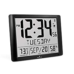 Marathon Super Jumbo Atomic Full Calendar Wall Clock, 7 Time Zones, Indoor Temperature and Humidity. Extra Large 20 Inch Display - Batteries Included - CL030061-FD-BK (Black)