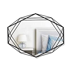 Umbra Prisma Modern Geometric Shaped Oval Mirror Wall Decor for Bedroom, Bathroom, Living, Dining Room, Black