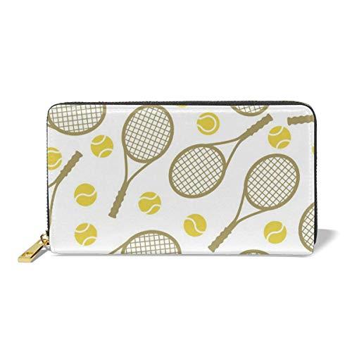VimcustomPr Cartera para mujer con cremallera de piel de primera calidad con diseño de raquetas de tenis y pelotas de tenis