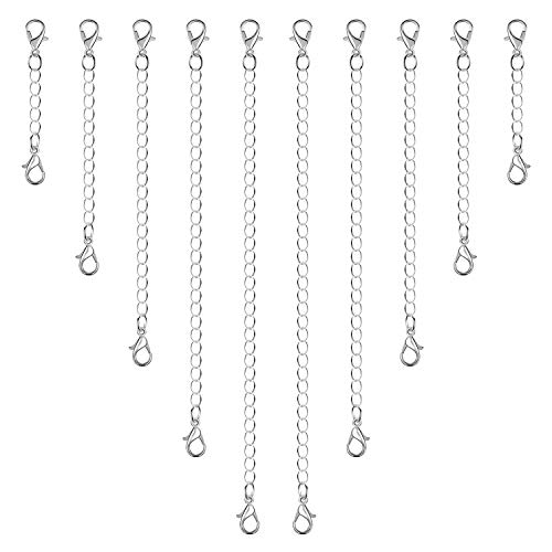 Anezus 10Pcs Necklace Extenders, Jewelry Extenders for Necklaces, Silver Bracelet Extender, Chain Extenders for Necklace, Bracelet and Jewelry Making (Assorted Sizes)
