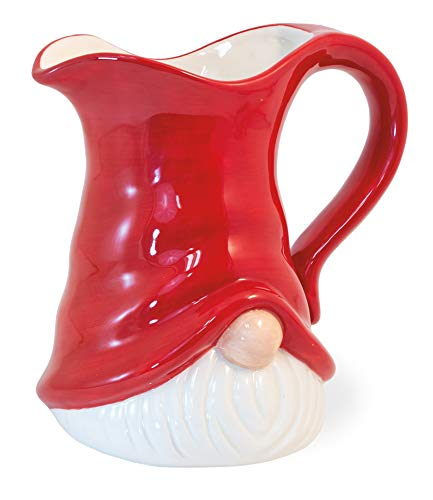 Boston International Ceramic Serving Pitcher, 5 Cups, Red Gnome Hat