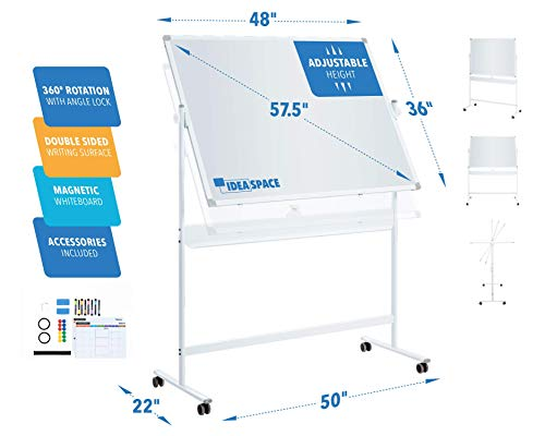 Mobile Whiteboard IdeaSpace | Large Magnetic 360° Double Sided Adjustable Height Dry Erase Board on Wheels | Portable Rolling Reversible Easel White Board | 48 x 36