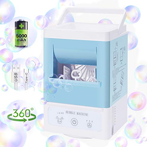 Bubble Machine for Kids, Portable Automatic Bubble Blower, Rechargeable Bubble Maker for Parties, 5000mAh Battery Bubble Toy, 3 Blowing Speed, 360° Auto Oscillation for Birthday Outdoor