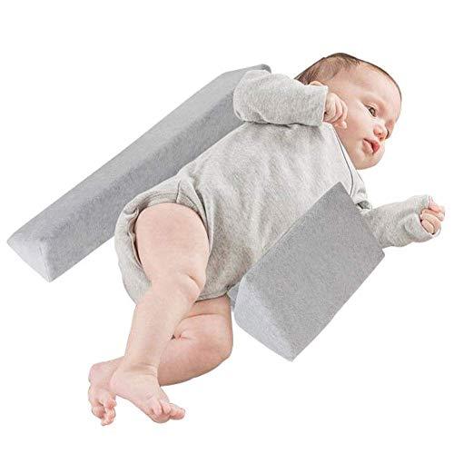 mama stadt Baby Side Schlafkissen, Dreieckskissen Baby Side Kissen Abnehmbares und Waschbares Samtkissen, Grau