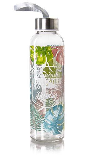 wenco Botella de cristal 500 ml, tapa hermética con junta de silicona, diseño hawaiano, altura 21,7 cm, vidrio y acero inoxidable, multicolor 538572