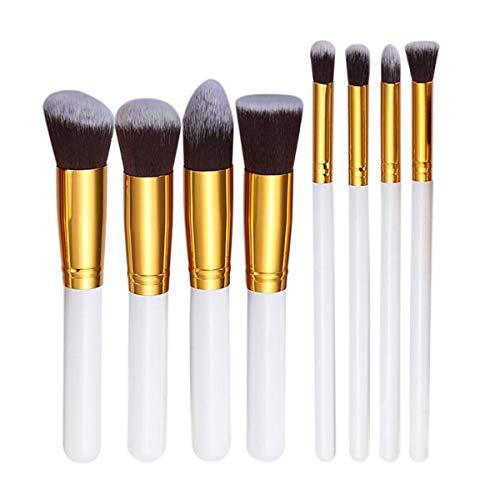 WSUH Pinceau de maquillage Set Nylon Bristle cosmétiques outil for fard à paupières Eye-Liner Sourcil fard à joues Pinceau fond de teint, 8Pcs (Couleur : White N Gold, Size : One Size)