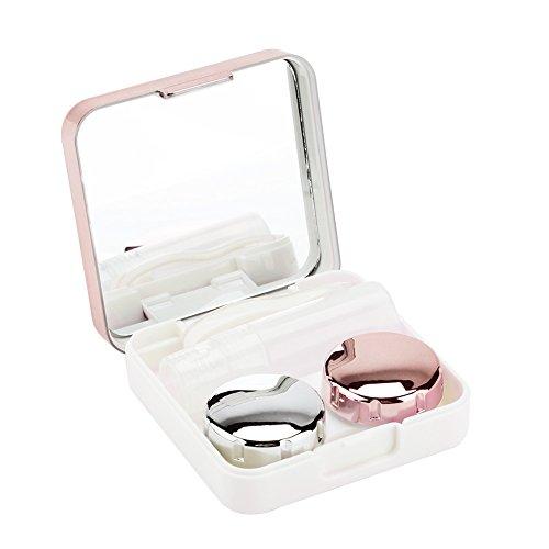 Kontaktlinsenbehälter, Reflektierende Abdeckung Kontaktlinsen-Etui Set Cute Lovely Travel Kit Box(Hellrosa)