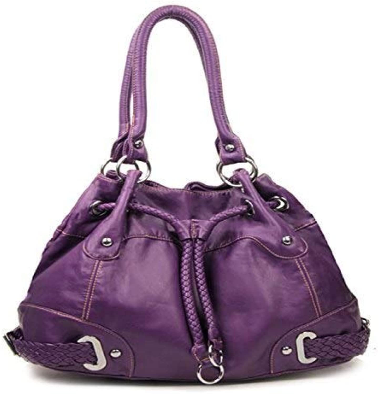 HBM Purple Cinch Tie Stone Washed Handbag