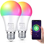 Smart WiFi Light Bulb SOLMORE E26 Dimmable Smart LED Bulb Multicolor WiFi Smart Lights Bulb Compatible with Alexa, Echo, Google Home and IFTTT (No Hub Required) 9W (2 Pack)