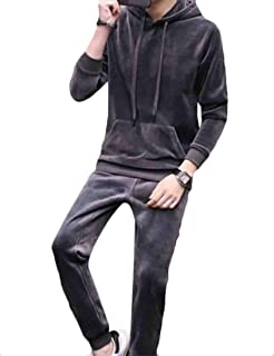 Maweisong Mens Sports Sweatshirt Velour Pullover Two Pieces Warm Tracksuit Set