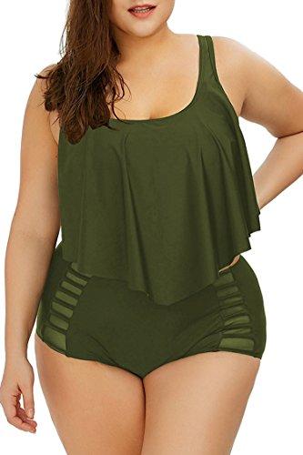 Viottiset Damen Plus Size Flounce Bademode mit Hoher Taille Badeanzug Bikini Set XXXL Armeegrün