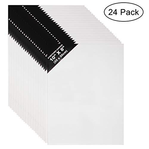 Leinwand Set (24er Set) - L25 x W20cm Leinwand-Panel - 3mm dick Weiße Leinwände für Bilder, Kunst - Leere Leinwand zum Bemalen - Leinwand für Acrylmalerei und Ölfarbe