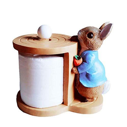 KANJJ-YU Toallero de papel rústico de resina rural para cocina, soporte para toallas de papel de cocina, bonito conejo, soporte vertical para toallas de papel para comedor, hotel, bar (color: A)