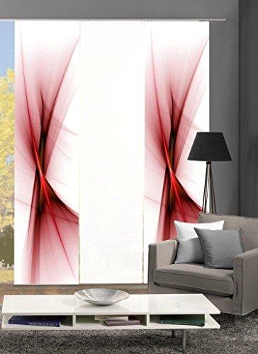 Home Fashion 88151 | 3er-Set Schiebegardinen Ola | blickdichter Dekostoff | 3X jeweils 245x60 cm | Farbe: (rot)