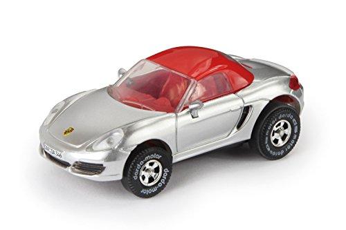 Darda 50346 - Darda Auto Porsche Boxster 981 Cabriolet zilver, ca. 8 cm, raceauto met verwisselbare terugtrekmotor, voertuig met trekker voor kinderen vanaf 5 jaar, trekker voor Darda racebanen