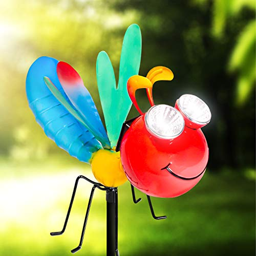 Shefio Solar Garden Dragonfly Stake Lights – Delightful Metal Yard Art Decor with Colorful Look & Personalities - Outdoor Lawn Decor Garden Decoration, Lawn Ornament - Unique Gift