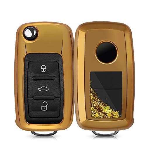 Kwmobile Cover Copri-Chiave Compatibile Con VW Skoda Seat Con 3 Tasti - Custodia Protettiva Per Chiavi Auto In Silicone TPU - Glitter In Movimento Oro/Oro Metallizzato