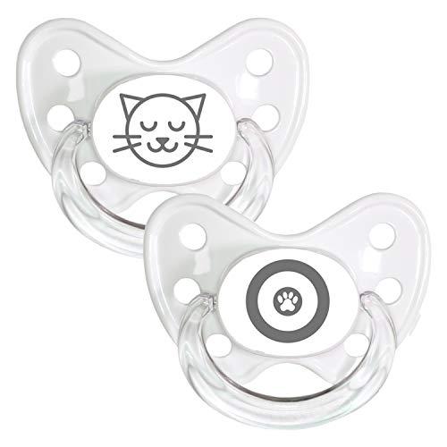 DENTISTAR® Schnuller 2er Set mit Schutzkappe - Silikon Nuckel in Größe 3, ab 14 Monate - zahnfreundlich & kiefergerecht - Beruhigungssauger - Made in Germany - BPA frei - Kitty + Pfote