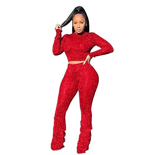 Trajes y Conjuntos de Mujer, Conjunto de Jersey Sexy de Manga Larga con Pantalones Plisados y línea Plateada de Moda para Mujer, Ropa para Mujer (Rojo M)