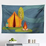 Lunarable Camping Tapestry, Summer Outdoor Activity in The Forest Tent Campfire and Lantern Under Night Sky, Fabric Wall Hanging Decor for Bedroom Living Room Dorm, 45' X 30', Orange Blue