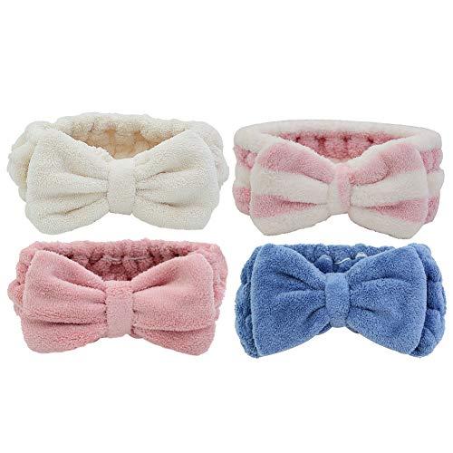Simnice 4 Pack Microfiber Bowtie Headbands Facial Makeup Headband Wash Spa Yoga Sports Shower Adjustable Elastic Cosmetic Bowknot Hair Band for Girls and Women