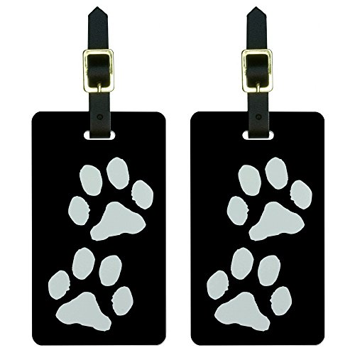 Black and white paw print luggage tag