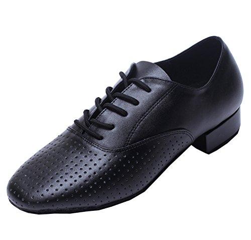 Minitoo QJ806- Scarpe da ballo, da uomo, in comoda pelle, per salsa, tango, latini, sale da ballo e matrimonio, Nero (Black), 44