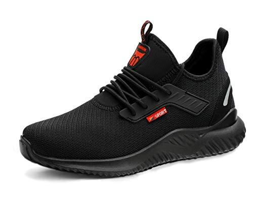 [ブルーポメロ] 安全靴 あんぜん靴 作業靴 メンズ レディース 軽量 通気性 鋼先芯 JIS H級相当 KEVLARミッドソール 耐摩耗 クッション性 オシャレ 912ブラック 26.5