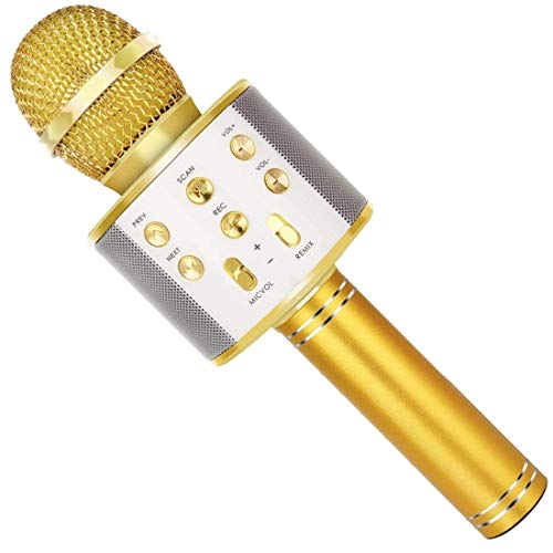 SUNY Wireless Bluetooth Karaoke Microphone with Speaker & Record Function, Best Gift Singing Toy for Kid (Gold)