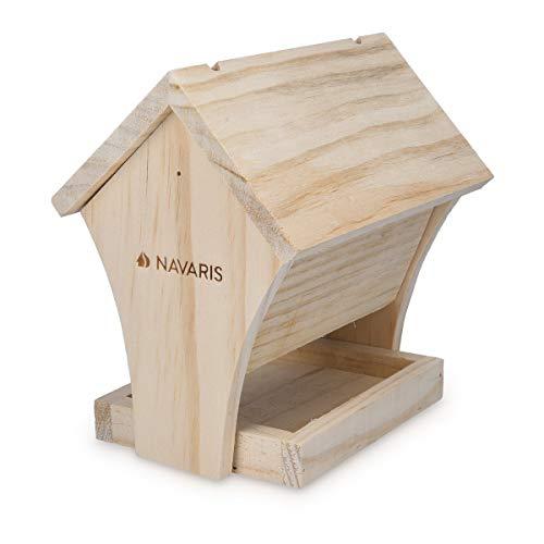 Navaris Casetta per Uccelli da Esterno da Appendere - Rifugio da Costruire in Legno Naturale per Uccellini Selvatici - Casa Mangiatoia 17x13x17,5cm