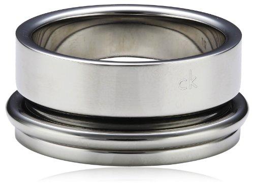 Calvin Klein - Anillo de Acero con ónice, Talla 23 (20,06 mm)