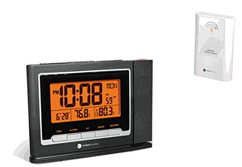 Ambient Weather RC-8365 Clearview Projection Clock with Indoor Outdoor Temperature and Radio Controlled Time