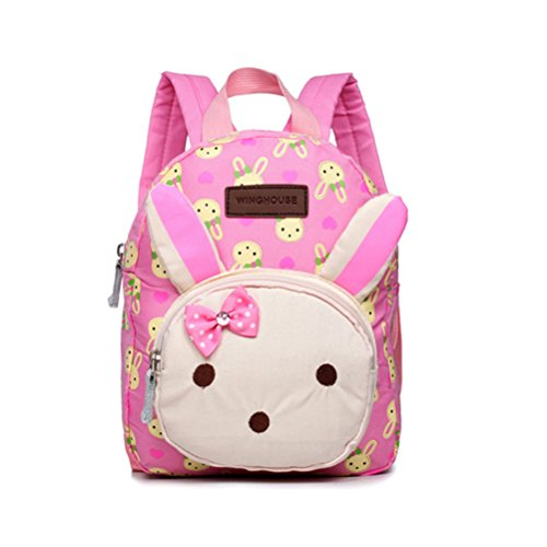 Cute Backpacks for Girls Children Kids or Boys Animals Kids Book Backpack Baby Girls Lunch Box Backpack Cartoon Anti lost Kids Backpack-Pink Rabbit