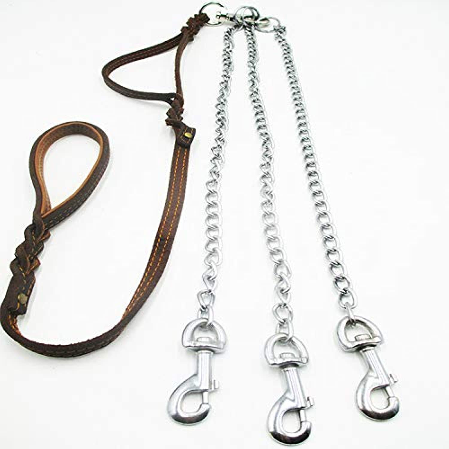 Hhxx9 MediumSized and LargeSized Dogs with TwoHandled Traction Rope, Suture, Cowhide, Multiple Dogs, MediumSized and LargeSized Dogs,One Pull