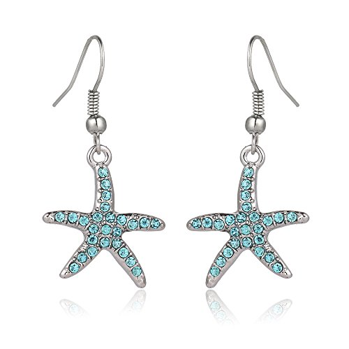 Liavy's Aqua Starfish Fashionable Earrings - Fish Hook - Sparkling Crystal - Unique Gift and Souvenir