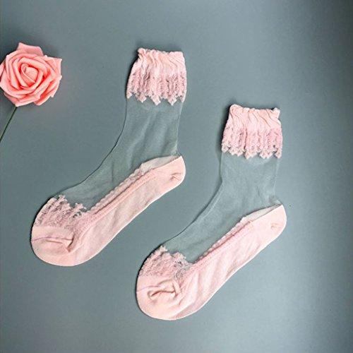 VIcoo kant borduurwerk silk kousen transparante glaskristallen uitzettingsvrouwen sokken - 6