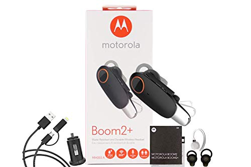 Motorola Boom 2+'HD Flip Bluetooth - Water Resistant Wireless Headset - with Car Charger 2 in 1 USB (Combo Retail Pack)