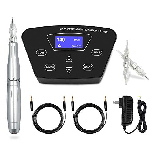 Permanent Makeup Machine - BIOAMSER P300 Permanent Makeup Tattoo Machines Device Kit Include Digital Permanent Makeup Power Supply Permanent Makeup Tattoo Pen and 2 Clip Cord with 10pcs Microbladi