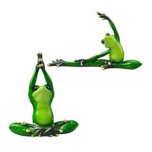 NMBD Sculpture,2Pcs Resin 3D Yoga Frog Figurines Miniatures Ornament Statute Car Dashboard Decorations Figurines Miniature Handcraft KAIRUI